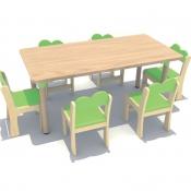 【贴面】原木多层板长方桌